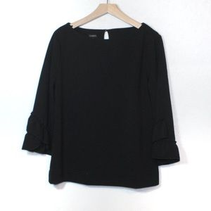 Talbots black ruffle bell sleeve stretchy blouse